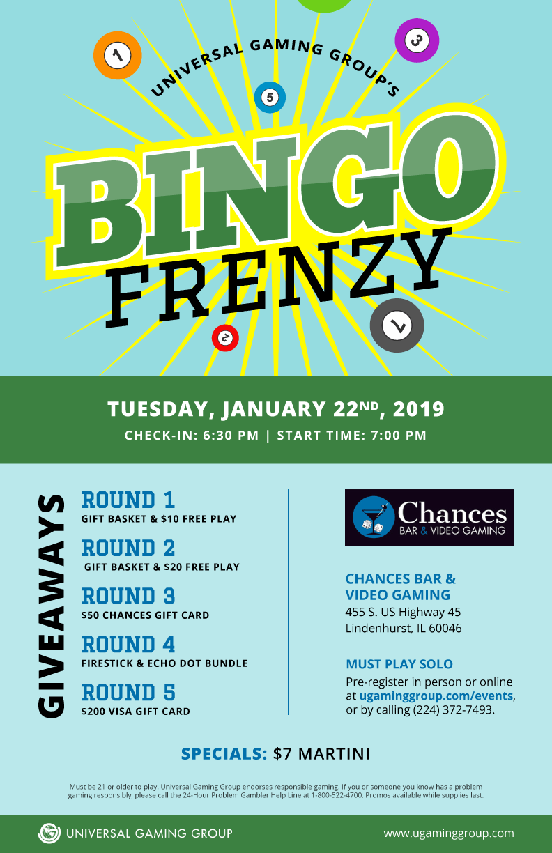Bingo Frenzy flyer January 22